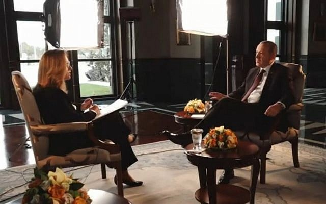 Turkish President Recep Tayyip Erdoğan interviewed by Israeli reporter Ilana Dayan, November 2016 (Screen capture: Channel 2)