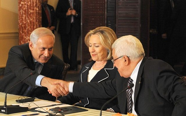 Prime Minister Benjamin Netanyahu with then-US secretary of state Hillary Clinton and Palestinian Authority President Mahmoud Abbas at a peace conference in Washington, DC, September 2, 2010. (Moshe Milner/GPO/Flash90)
