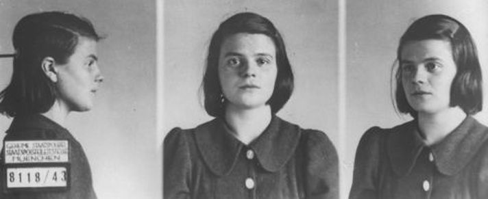 Sophie Scholl of the 'White Rose' resistance group, seen in Gestapo photographs following her arrest in 1943 (Public domain)