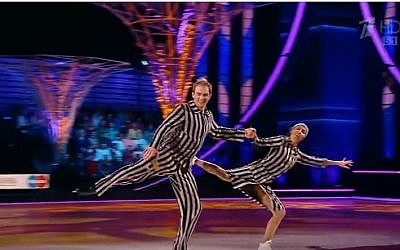 An image from Tatiana Navka and Andre Burkovsky's Holocaust-themed ice skating performance on the Russian reality competition show 'Ice Age,' November 26, 2016. (Screen shot, YouTube)