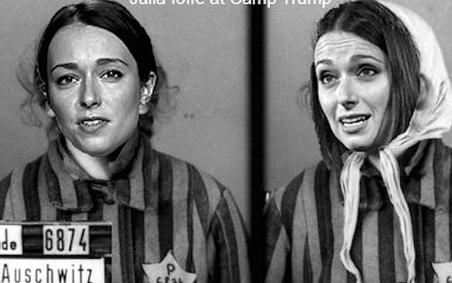 Jewish journalist Julia Ioffe received neo-Nazi death threats from Donald Trump supporters, including an image depicting her as a concentration camp inmate, after writing a profile of Melania Trump in GQ. (Screenshot from Twitter)