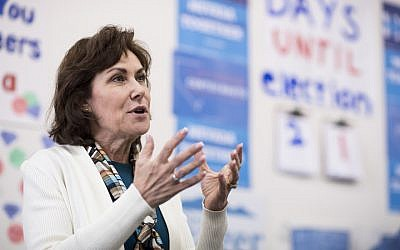 Jacky Rosen, synagogue president and Democratic candidate for Nevada's 3rd Congressional District, speaks to campaign volunteers in the Nevada Democrats'  field office in southwest Las Vegas on October 18, 2016. (Bill Clark/CQ Roll Call via JTA)