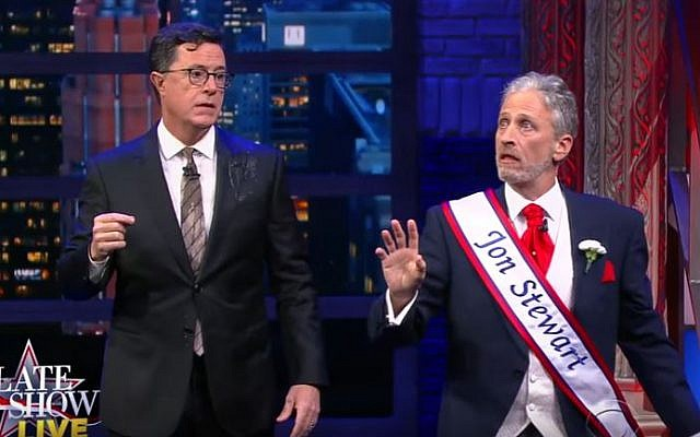 Jon Stewart and Stephen Colbert sing their support for voting in a musical number on 'The Late Show; on November 7, 2016  (Screen capture: YouTube).