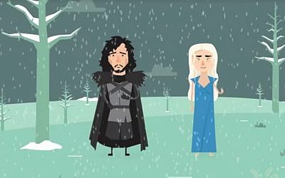 Yoni and Dani offer advice to Jerusalemites as winter approaches, in this homage to 'Game of Thrones' (screen capture: Facebook)