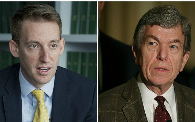 Democrat Jason Kander, left, is challenging longtime Republican Sen. Roy Blunt for a Missouri Senate seat in the 2016 race. (Getty Images via JTA)