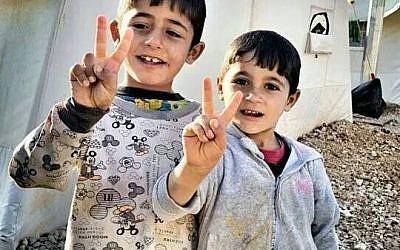 Yazidi children in a refugee camp on December 17, 2014 (Courtesy of Nareen Shammo)