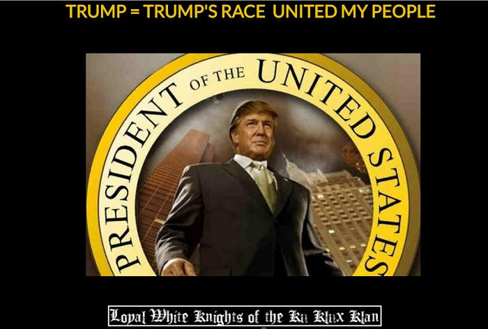 Screen capture taken from the KKK website on November 11, 2016, celebrating Donald Trump's election win