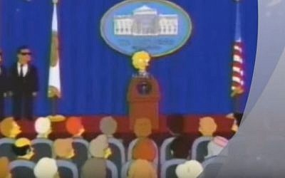 Lisa Simpson as US president in an episode of 'The Simpsons' from 2000 that predicted Donald Trump would become leader of the free world (Screen capture: YouTube)