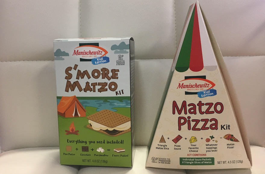 S'mores and a pizza kit are part of a new line of Manischewitz matzah-themed treats. (Josefin Dolsten)