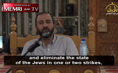 Screen capture showing Palestinian cleric Sheikh Abd Al-Salam Abu Al-Izz in a video posted online November 16, 2016. (screen capture, MEMRI - The Middle East Media Research Institute)