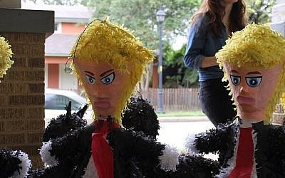 Trump piñatas at Raquels Partyland in Austin, Texas, November 8, 2016. (Ricky Ben-David/Times of Israel)