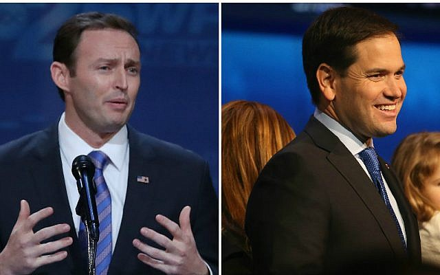 US Rep. Patrick Murphy, left, is taking on Sen. Marco Rubio in Florida in the 2016 race. (Getty Images via JTA)