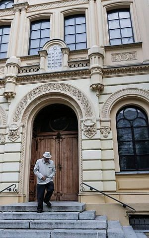 The entrance to the Nozyk Synagogue in Warsaw, Poland, the only surviving synagogue in Warsaw built before World War II. It was built between 1898-1902 and restored after World War II. It is still operational and currently houses the Warsaw Jewish Community, as well as other Jewish organizations. (Flash90)