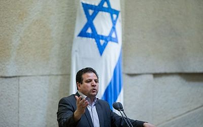 Ayman Odeh, the leader of the Joint (Arab) List, speaks during a vote on a bill that would allow suspension of Knesset members, March 28, 2016. (Yonatan Sindel/Flash90)