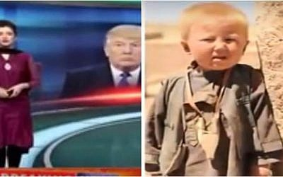 A screenshot from a report on Pakistani TV's Neo News claiming that Donald Trump was born in Pakistan as Dawood Ibrahim Khan. (Screen capture: YouTube)