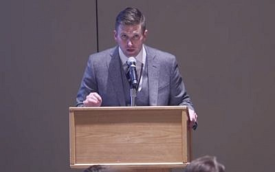Richard Spencer speaks at an alt-right gathering in Washington, DC to celebrate Trump's victory, on November 19, 2016. (Screenshot/YouTube)