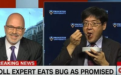 Princeton University polling expert Sam Wang eats a bug on CNN on November 12, 2016 after failing to predict a Trump victory (YouTube screenshot)