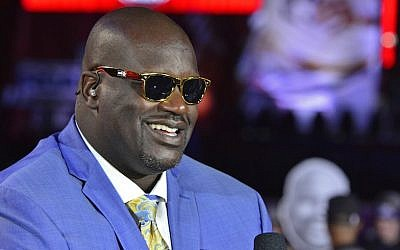 A close up shot of NBA TNT Analyst, Shaquille O'Neal talking on set before the New York Knicks game against the Cleveland Cavaliers on October 25, 2016 at Quicken Loans Arena in Cleveland, Ohio.  (David Dow/NBAE via Getty Images)