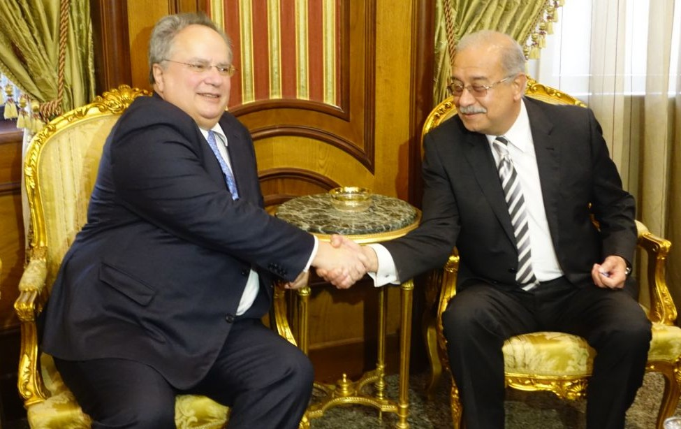 Egyptian Prime Minister Sherif Ismail meeting with Greek Foreign Minister for Foreign Affairs Nikos Kotzias in February 2016. (Flickr/Greek Ministry of Foreign Affairs)