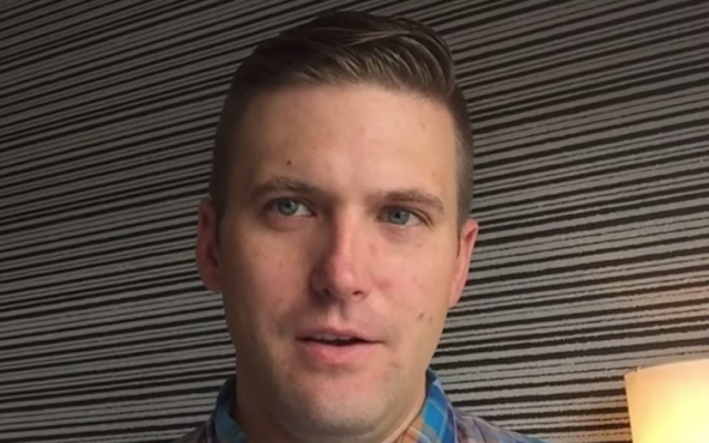 Richard Spencer, a white supremacist who runs a Washington think tank, the National Policy Institute. (Screenshot from YouTube via JTA)