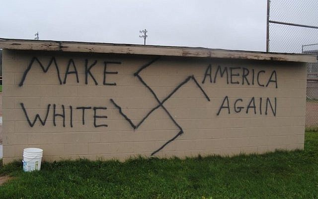 Nazi-themed graffiti found in the town of Wellsville, New York, on the same day that Donald Trump won the presidential election on November 9, 2016. (Twitter/JTA)
