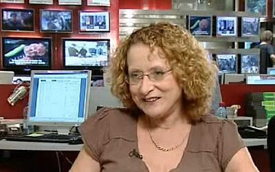 """Tatiana Hoffman interviewed by Channel Two in a segment called """"Behind the scenes: A day in the life of Tatiana Hoffman,"""" broadcast on August 7, 2009. (Screen Capture: YouTube)"""