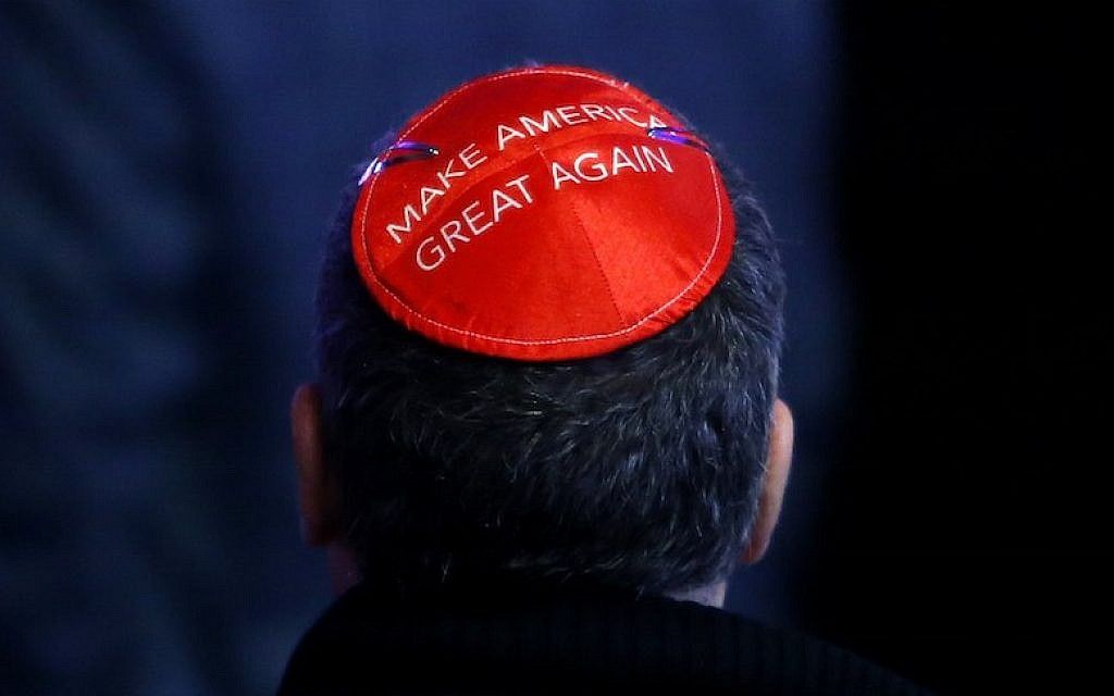 A man wearing his support for Donald Trump on his kippah at Trump's election night event in New York City, Nov. 8, 2016. (Jessica Rinaldi/The Boston Globe via Getty Images)