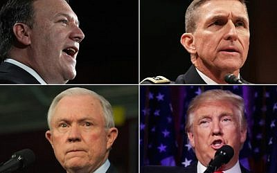 Top left, clockwise, Mike Pompeo, Michael Flynn, Donald Trump and Jeff Sessions (Pompeo photo: Win McNamee/Getty Images; Flynn photo: Alex Wong/Getty Images; Trump photo: Chip Somodevilla/Getty Images; Sessions photo: Jeff Swensen/Getty Images)