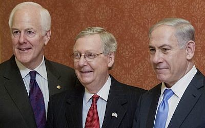 From left to right: Sen. John Cornyn (R-Tx.), Sen. Mitch McConnell (R-Ky.) and Benjamin Netanyahu at the US Capitol in Washington, DC, March 3, 2015. (Andrew Harrer/Bloomberg/Getty Images via JTA)