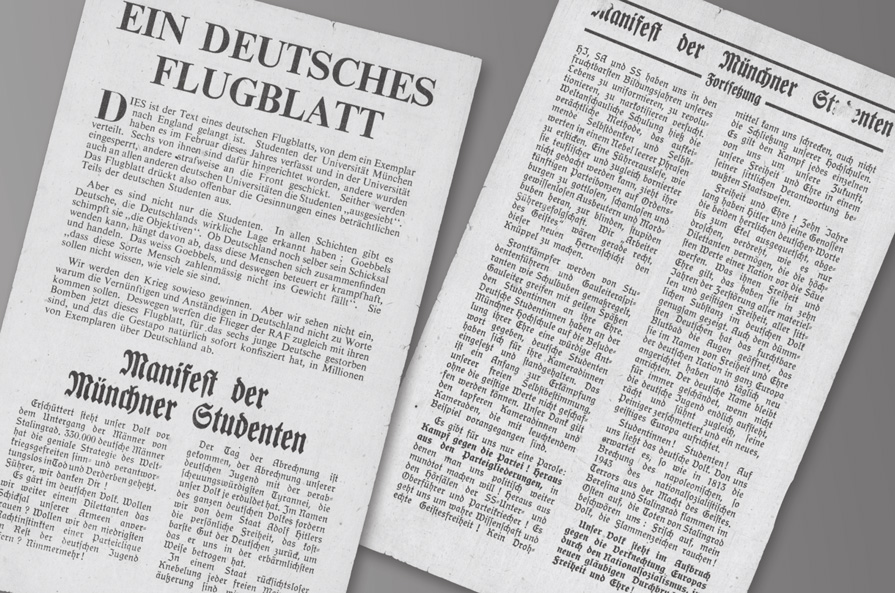 Replicas of leaflets published by the 'White Rose' group of students who organized against the Nazi regime (The White Rose Foundation)