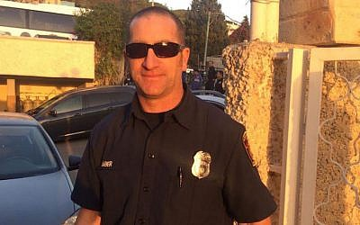 Elan Raber of the Los Angeles Fire Department standing outside the fire station in Petah Tikvah, Israel, Nov. 28, 2016. (Courtesy of Raber)