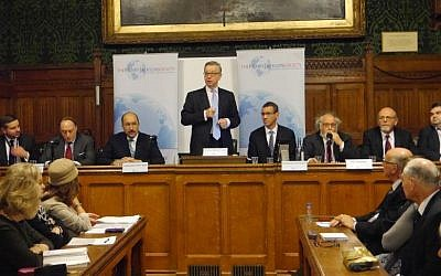 MP Michael Gove speaks, and former Israeli Foreign Ministry director general Dore Gold, Israeli Ambassador to the UK Mark Regev, and other speakers  look on, at a Houses of Parliament event to mark the 100th anniversary of the Balfour Declaration, November 29, 2016 (Courtesy)