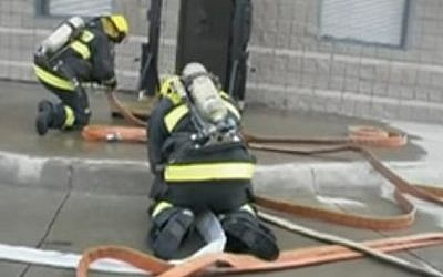 American firefighters train with Israelis within the framework of the Emergency Volunteers Project. (YouTube screenshot)