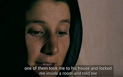A woman who was kidnapped and then rescued by Nareen Shammo shares her story in the 2015 BBC documentary Slaves of the Caliphate (Screen capture: YouTube)