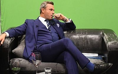 Norbert Hofer, candidate of Austria's right-wing Freedom Party, FPOE, during a television debate, in Vienna, Austria, November 27, 2016. (AFP/JOE KLAMAR)