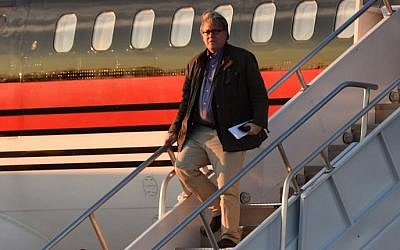 "Steve Bannon gets off the plane with US President-elect Donald Trump arrives at Cincinnati/Northern Kentucky International Airport in Hebron, Kentucky, for the start of the ""USA Thank You Tour"" at the US Bank Arena in Cincinnati, Ohio, December 1, 2016. (AFP PHOTO/TIMOTHY A. CLARY)"