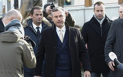 Austrian far-right Freedom Party (FPOe) presidential candidate Norbert Hofer arrives at a polling station to cast his ballot in Pinkafeld, Austria, on December 4, 2016. (AFP PHOTO / APA / ERWIN SCHERIAU / Austria OUT)