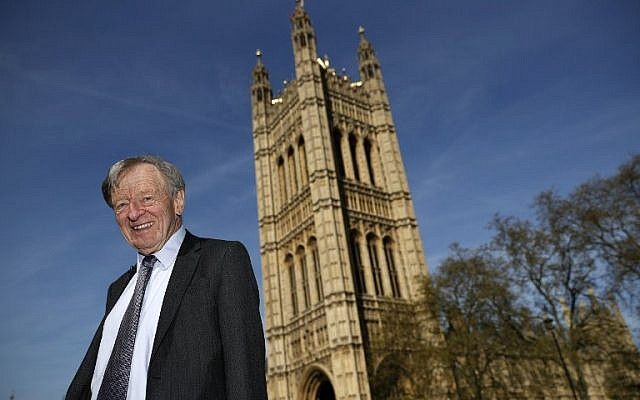 This file photo taken on May 4, 2016 shows Lord Alfred Dubs as he poses for a portrait outside The Palace of Westminster in central London. (AFP/Adrian Dennis)