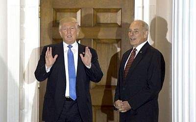 This file photo taken on November 20, 2016 shows US President-elect Donald Trump meeting with retired Marine Corps general John Kelly at the clubhouse of Trump National Golf Club in Bedminster, New Jersey. (AFP/Don Emmert)