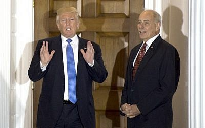 This file photo taken on November 20, 2016 shows US President-elect Donald Trump meeting with retired Marine Corps general John Kelly at the clubhouse of Trump National Golf Club in Bedminster, New Jersey. (AFP PHOTO/DON EMMERT)