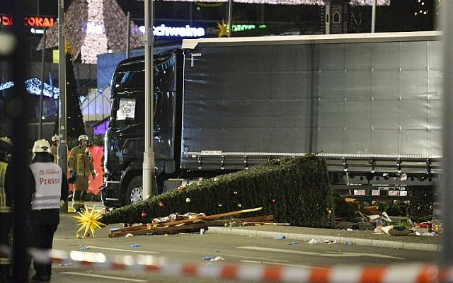 View of the truck that crashed into a Christmas market in Berlin on December 19, 2016. (AFP/Odd Andersen)