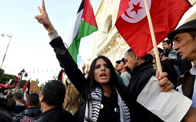 Tunisians shout slogans against Israel during a demonstration on December 20, 2016 in Tunis (AFP PHOTO / FETHI BELAID)