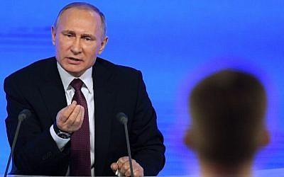 Russian President Vladimir Putin speaks during his annual press conference in Moscow on December 23, 2016.(AFP Photo/Natalia Kolesnikova)