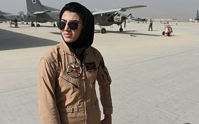 This file photograph taken on April 26, 2015, shows Afghanistan's first female pilot Niloofar Rahmani as she poses at an airfield in Kabul. (AFP Photo/Shah Marai)