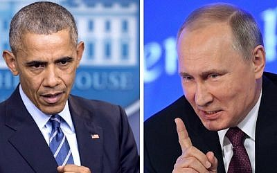 A combination of file photos shows US President Barack Obama, left, speaking at the White House in Washington, DC on December 16, 2016 and Vladimir Putin speaking in Moscow on December 23, 2016. (AFP/Saul LOEB AND Natalia KOLESNIKOVA)