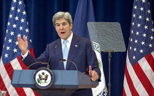 US Secretary of State John Kerry lays out his vision for peace between Israel and the Palestinians December 28, 2016, in the Dean Acheson Auditorium at the Department of State in Washington, DC. (AFP PHOTO / PAUL J. RICHARDS)