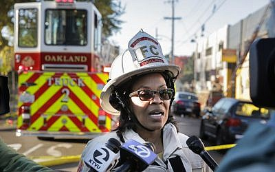Oakland Fire Chief Teresa Deloach Reed speaks to the press following an overnight fire that claimed the lives of at least nine people at a warehouse in the Fruitvale neighborhood on December 3, 2016 in Oakland, California. (Elijah Nouvelage/Getty Images/AFP)