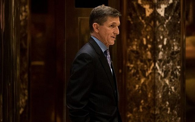 Retired Lt. Gen. Michael Flynn, President-elect Donald Trump's choice for National Security Adviser, waits for an elevator in the lobby at Trump Tower, December 12, 2016 in New York City. (Drew Angerer/Getty Images/AFP)