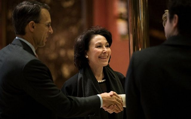 NEW YORK, NY - DECEMBER 14: Safra Catz, chief executive officer of Oracle, arrives at Trump Tower, December 14, 2016 in New York City. This is the first major meeting between President-elect Trump and technology industry leaders. Drew Angerer/Getty Images/AFP