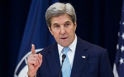 US Secretary of State John Kerry delivers a speech on Middle East peace at the State Department in Washington, DC on December 28, 2016.  (Zach Gibson/Getty Images/AFP)
